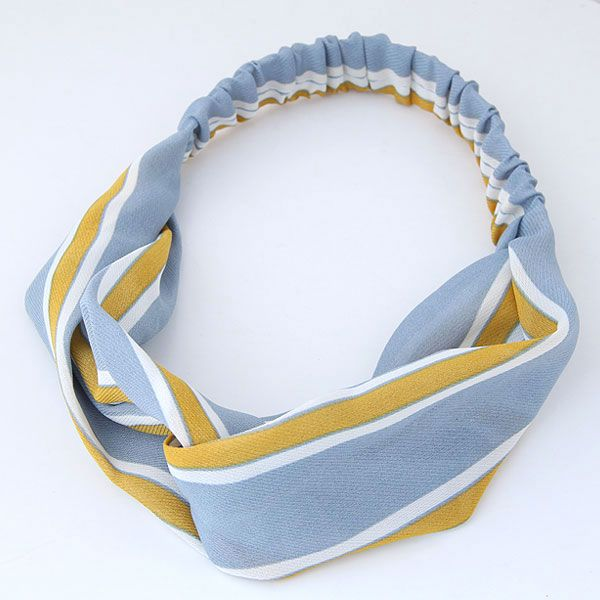 Korean hair band  hair band nihaojewelry wholesale fashion sweet wide-brimmed cross-elastic contrast color stripes hair accessories hair band NHSC214970