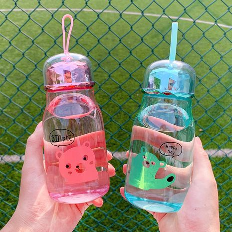 Cute anime bear printed plastic handle water cup cartoon sports take-out cup office drinking cup nihaojewelry wholesale NHtn214829's discount tags