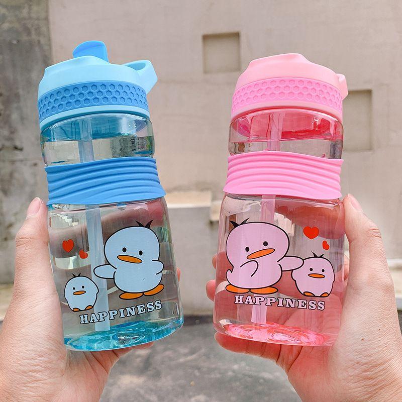 Korean new creative simple anti-fall plastic cup student portable handle straw cup cartoon printing anti-choking cup NHtn214834