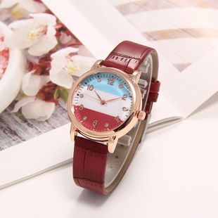 New fashion watch PU leather strap creative tricolor with dial casual quartz watch wristwatch nihaojewelry wholesale NHLN214895's discount tags