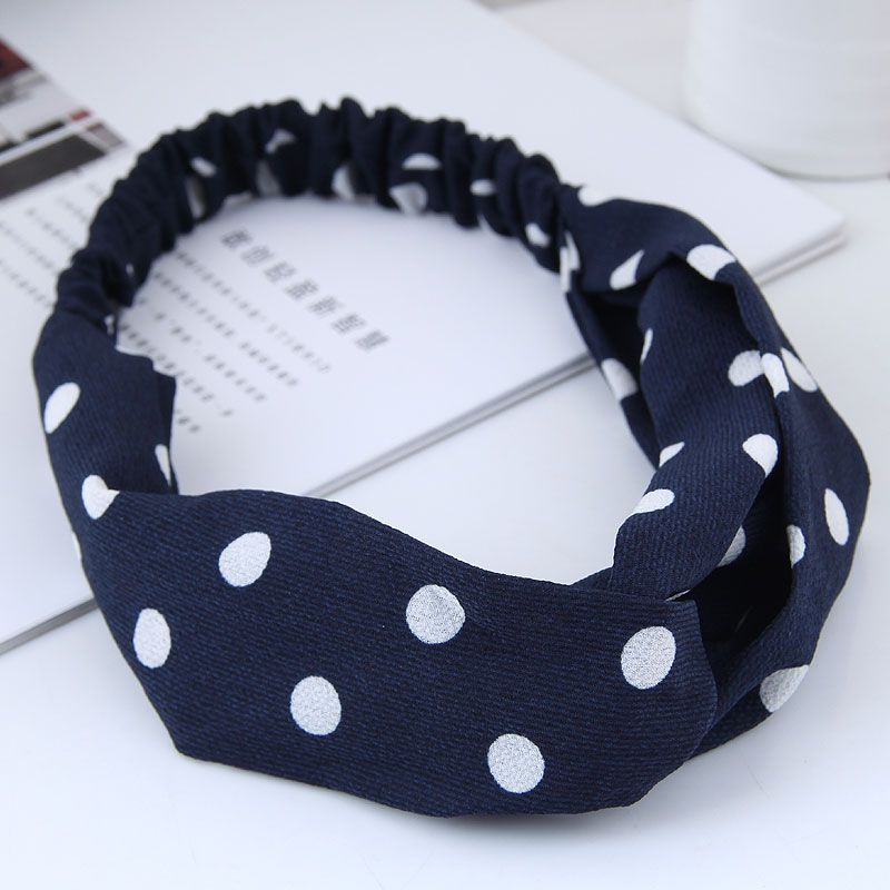 fashion  hair band nihaojewelry wholesale simple wide-sided polka dot cross elastic wide-band hair accessories hair band NHSC214979