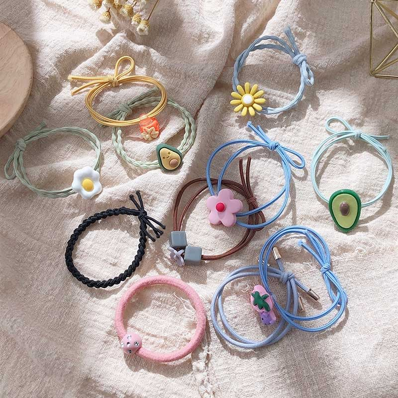 The new head rope sweet little flower avocado strawberry tie hair elastic rubber band hair cheap scrunchies wholesale NHPF214566