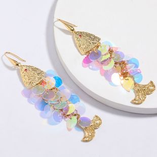 New fashion creative colorful  fish shape resin disc  earrings for women retro fashion  earrings nihaojewelry wholesale NHJE214903's discount tags