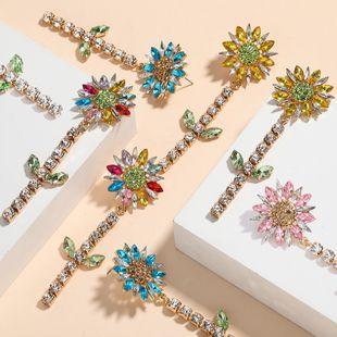 Fashion new diamond  sunflower  earrings for women nihaojewelry wholesale NHJE214904's discount tags