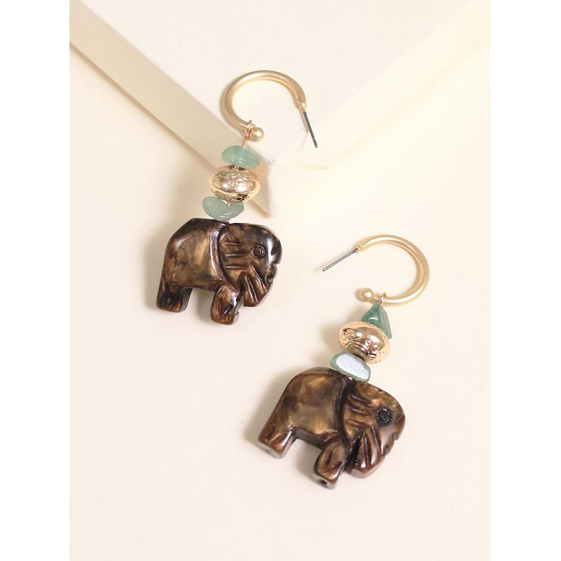Fashion elephant-shaped wooden alloy earrings creative retro simple classic solid color wood earrings NHJJ214914
