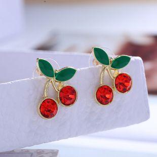 Pendientes de frutas coreanas nihaojewelry pendientes de diamantes de cereza lindos al por mayor para mujeres NHSC214959's discount tags