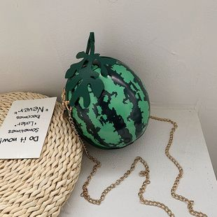 new summer fruit shoulder bags cute funny print shoulder small round bag Korean watermelon chain crossbody bag wholesale NHPB214941's discount tags