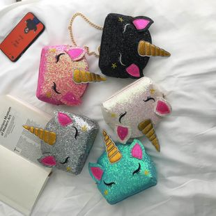summer new cartoon cute hit color unicorn chain shoulder bag female  shape sequin crossbody bag wholesale NHPB214946's discount tags