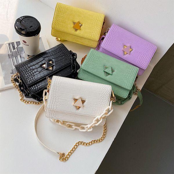 new summer shoulder bags crocodile pattern acrylic chain handbag triangle lock single shoulder crossbody bag wholesale NHPB214947