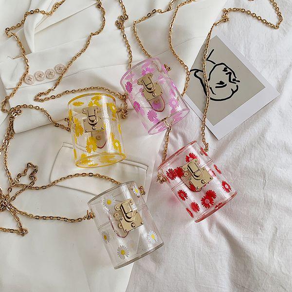 Korean new fashion  daisy mini bucket cylinder bag   transparent chain lock shoulder messenger bag wholesale NHPB214948