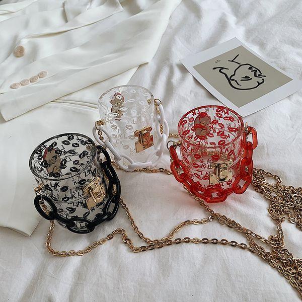 Fashion new transparent acrylic chain shoulder messenger bag for women   lipstick lock portable bucket bag wholesale NHPB214950
