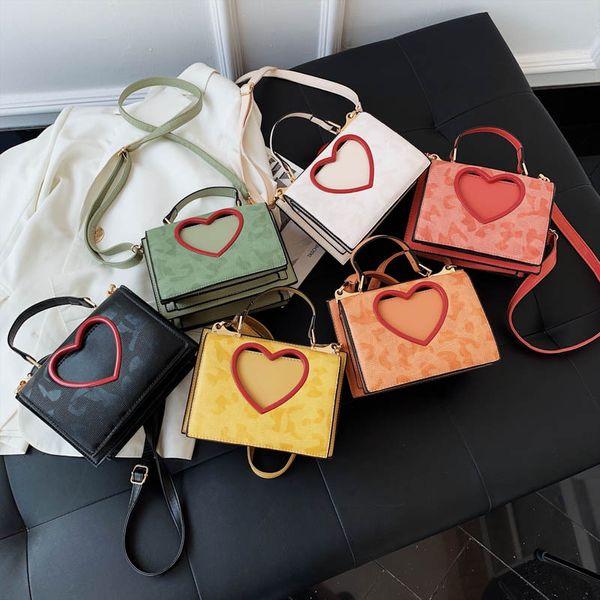 Korean shoulder bags for women love portable small square bag summer hit color multi-layer shoulder messenger bag wholesale NHPB214955