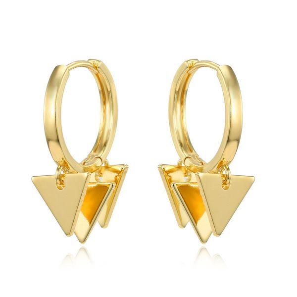 Moda simple nueva personalidad punk múltiple triángulo colgante pequeños pendientes simples múltiples capas geométricas pendientes de aro nihaojewelry al por mayor NHGO220987