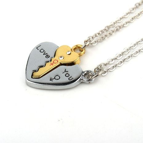 jewelry Korea creative heart-shaped key lock stitching pendant necklace clavicle chain couple necklace wholesale nihaojewelry NHGO220988's discount tags