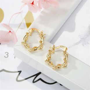 fashion simple new   classical golden ear ring winding rattan beads small earring nihaojewelry wholesale NHGO220989's discount tags