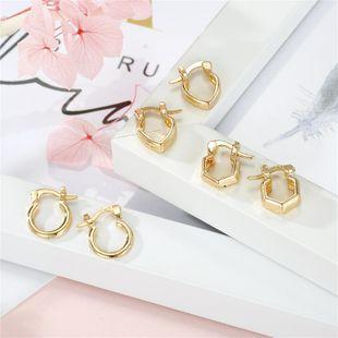 hot jewelry simple golden geometric love six-sided round earrings ear buckle wholesale nihaojewelry NHGO220992's discount tags