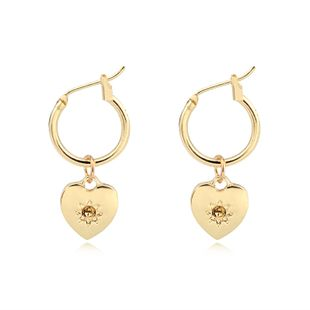 simple small love pendant ear ring fashion gold and silver heart-shaped ring earrings ear buckle hot sale wholesale nihaojewelry NHGO220993's discount tags