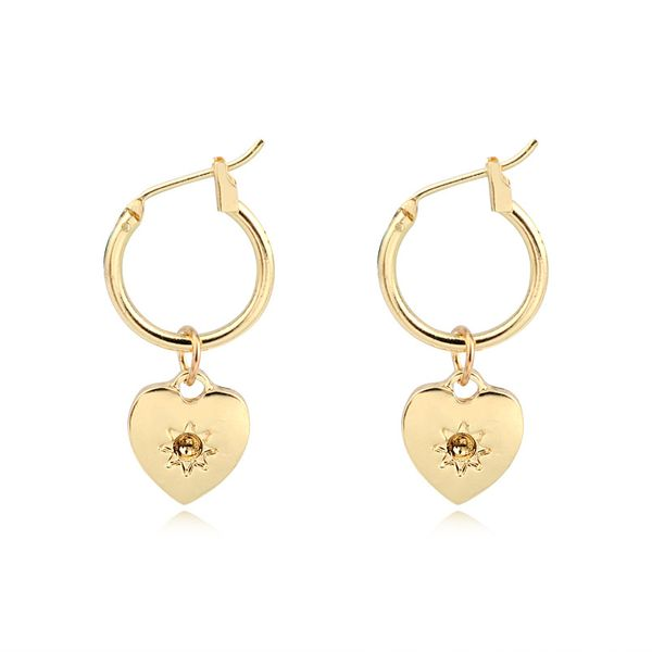 simple small love pendant ear ring fashion gold and silver heart-shaped ring earrings ear buckle hot sale wholesale nihaojewelry NHGO220993