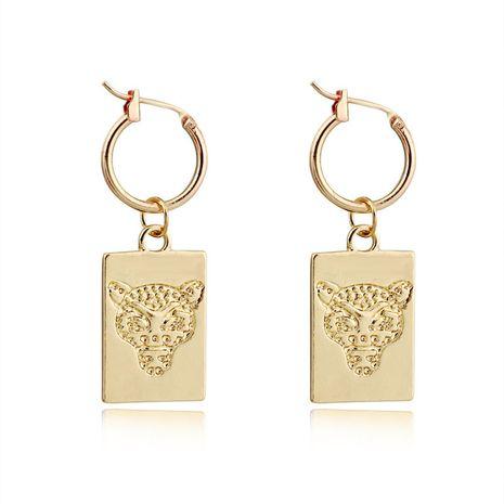 fashion trend jewelry punk retro square geometric leopard head pendant earring ear buckle hot sale wholesale nihaojewelry NHGO220994's discount tags