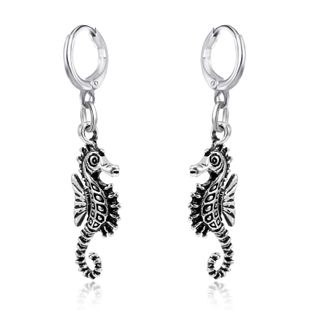 European fashion alloy animal hoop earrings cute personality three-dimensional hippocampus pendant earrings ear buckle wholesale nihaojewelry NHGO220995's discount tags
