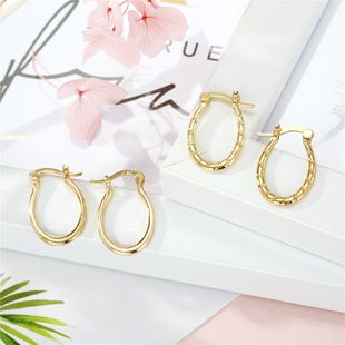 fashion jewelry retro golden frosted twist oval earrings ear ring ear buckle hot wholesale nihaojewelry NHGO220996's discount tags