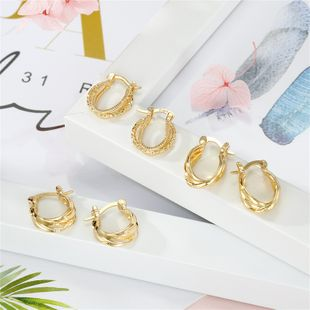 hot jewelry retro fashion geometric irregular round earrings gold small earrings wholesale nihaojewelry NHGO220997's discount tags