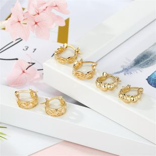 hot-selling jewelry earrings trend retro simple golden round hollow geometric small earrings wholesale nihaojewelry NHGO220998's discount tags
