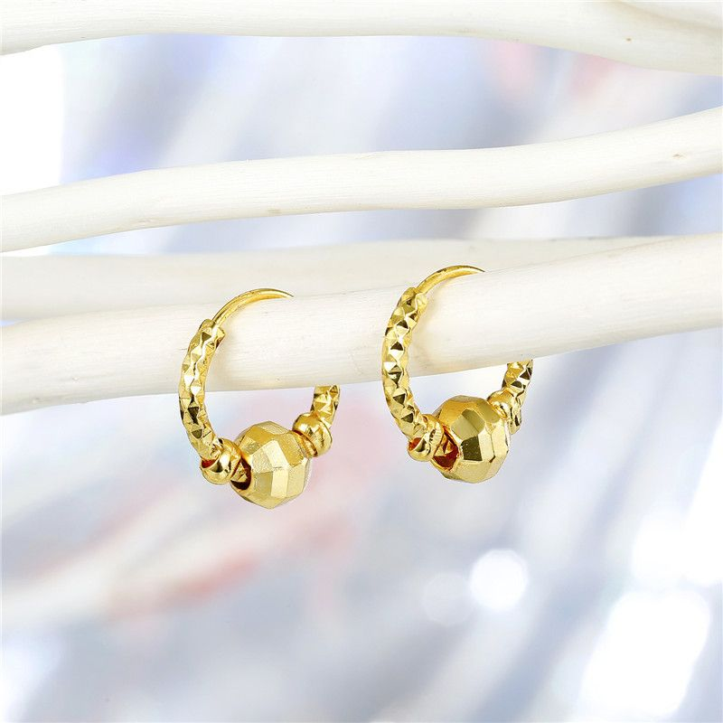 fashion jewelry retro simple golden small round beads transfer beads earrings ear buckle wholesale nihaojewelry NHGO220999