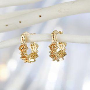 Trend cross-border jewelry retro irregular geometric leaves mini small earrings ear ring ear buckle wholesale nihaojewelry NHGO221000's discount tags