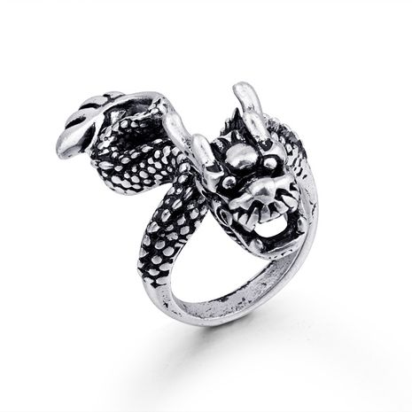 hot animal rings retro gothic dragon men's ring ancient silver animal ring wholesale nihaojewelry NHGO221005's discount tags