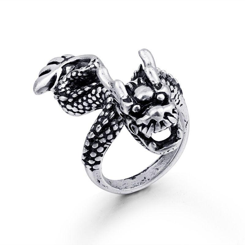 hot animal rings retro gothic dragon men's ring ancient silver animal ring wholesale nihaojewelry NHGO221005