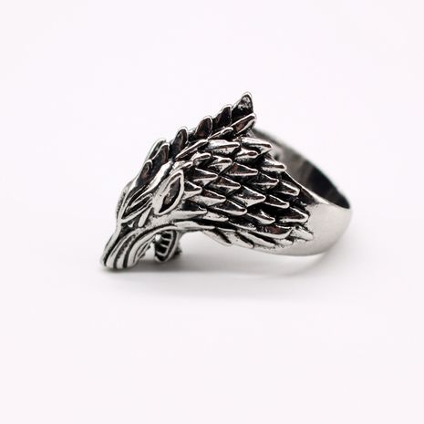 fashion jewelry retro exaggerated personality animal ring ancient silver wolf head men's ring wholesale nihaojewelry NHGO221010's discount tags