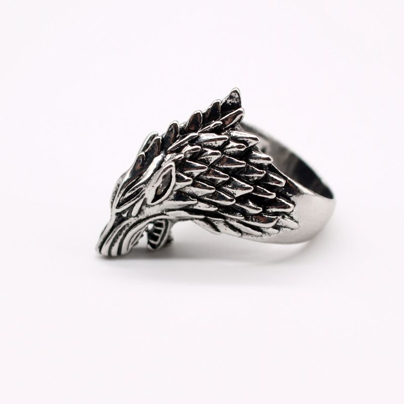 fashion jewelry retro exaggerated personality animal ring ancient silver wolf head men's ring wholesale nihaojewelry NHGO221010