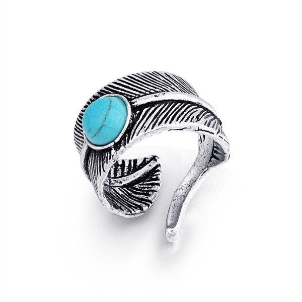 hot jewelry retro feather inlaid turquoise ring men's opening ring wholesale nihaojewelry NHGO221011