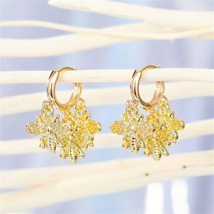 punk personality bee ring earrings multi-layer animal tassel pendant ear ring ear buckle wholesale nihaojewelry NHGO221015's discount tags