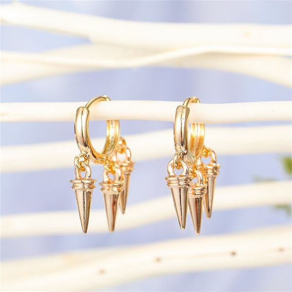 punk personality multilayer cone drop pendant ring earring triangle cone tassel ear ring ear buckle jewelry wholesale nihaojewelry NHGO221017