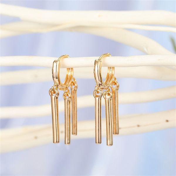 minimalist personality geometric stripe tassel earrings multi-layer vertical strip ear ring ear buckle wholesale nihaojewelry NHGO221020