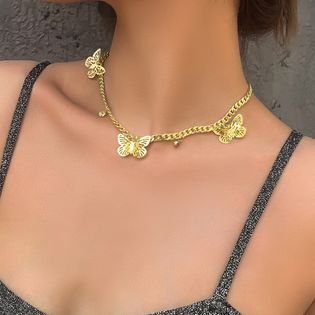fashion jewelry creative butterfly diamond pendant necklace personality alloy chain necklace wholesale nihaojewelry NHMD221022