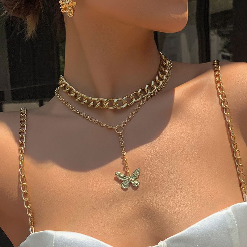 creative new necklace fashion personality butterfly pendant alloy thick chain necklace set wholesale nihaojewelry NHMD221025