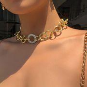 personnalité punk style or collier créatif simple chaîne épaisse alliage diamant collier en gros nihaojewelry NHMD221028