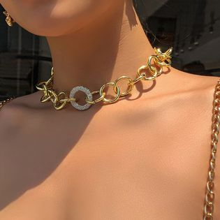 personality punk style golden necklace creative simple thick chain alloy diamond necklace wholesale nihaojewelry NHMD221028