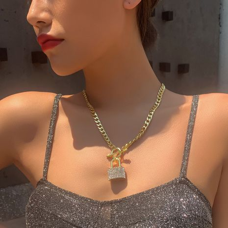 personality jewelry fashion punk style necklace creative metal lock diamond pendant necklace wholesale nihaojewelry NHMD221029's discount tags