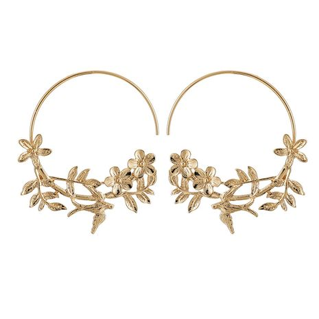Korean style exaggerated leaf flower earrings simple style fashion earrings alloy flower earrings wholesale nihaojewelry NHGY221036's discount tags