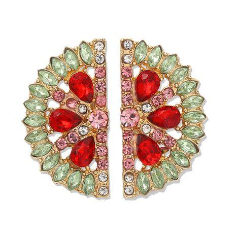 Japanese and Korean trendy fashion fan-shaped lemon full diamond earrings semi-circular luxury creative earrings street shot color diamond earrings wholesale nihaojewelry NHJQ221042's discount tags