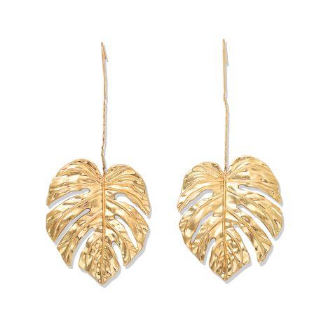 fashion metal leaf earrings personality punk leaf creative fashion earrings simple texture earrings wholesale nihaojewelry NHJQ221045's discount tags