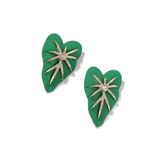 fashion wild insect leaf earrings alloy diamond spray paint leaves creative design earrings texture hot wholesale nihaojewelry NHJQ221046's discount tags