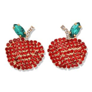 hot sale red apple design claws set with diamonds luxury earrings cute creative fashion fruit earrings wholesale nihaojewelry NHJQ221049's discount tags