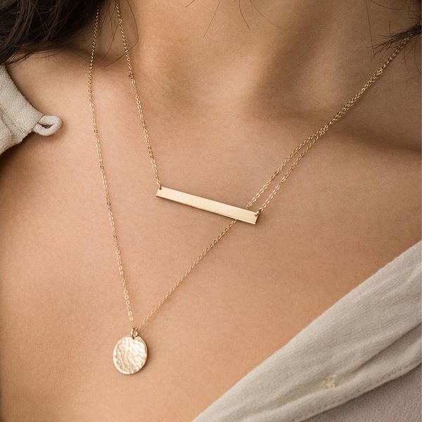 Geometric Round Brand Hammer Sword Necklace L316 Stainless Steel Two Piece Necklace Clavicle Chain wholesale nihaojewelry NHJJ221051