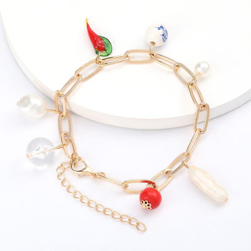 personality alloy cross chain resin chili ceramic pearl charm retro hip-hop jewelry wholesale nihaojewelry NHJE221069