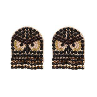 Little Monster Pac-Man Color Rhinestone Stud Earrings Personality Earrings Explosion Model Wholesale wholesale nihaojewelry NHUI221095's discount tags